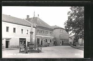 Ansichtskarte Lembach, Strasse mit Denkmal und Gasthof