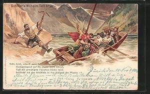 Lithographie Schiller's Wilhelm Tell, Jetzt, schnell mein