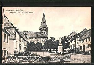 Ansichtskarte Holzappel, Marktplatz mit Bären-Denkmal