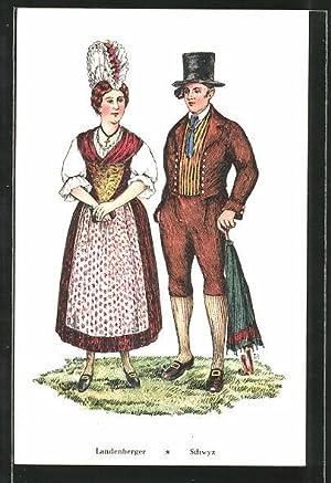 Ansichtskarte Paar in Schweizer Tracht aus dem