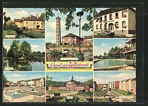 Ansichtskarte Wickrath, Rathaus, Freibad, Schloss