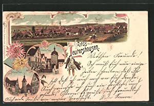 Lithographie Leutershausen, Oberes Tor, Unteres Tor, Totalansicht