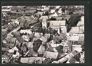 Ansichtskarte Metelen, Fliegeraufnahme von Schule und Kirche