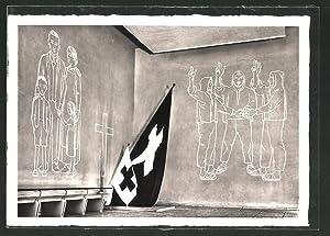 """Ansichtskarte Zürich, Schweizerische Landesausstellung 1939, Sgraffito """"Wir"""