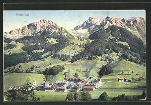 Ansichtskarte Melchthal, Ortspanorama mit Gebirge