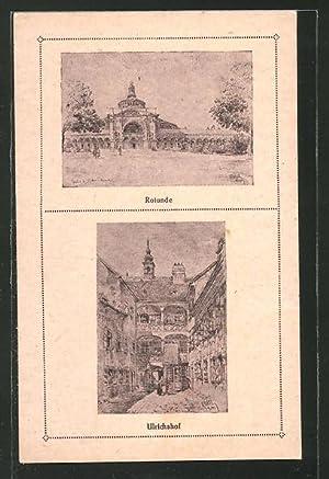 Künstler-Ansichtskarte Wien, Ulrichshof und Rotunde