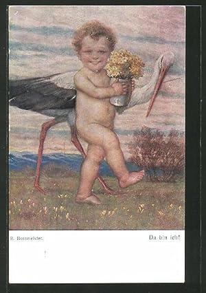 Künstler-Ansichtskarte R. Borrmeister: Da bin ich!, nackter