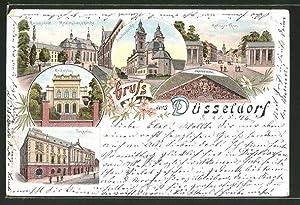 Lithographie Düsseldorf, Malkasten, Tonhalle, Ratinger Tor, Maximilianskirche