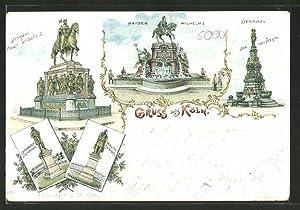 Lithographie Köln, Kaiser Wilhelm I. Denkmal, Moltke,