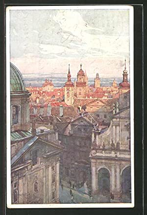 Künstler-Ansichtskarte Jaroslav Setelik: Skupina Staromestska s mostni