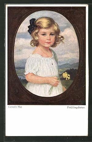 Künstler-Ansichtskarte Corneille Max: Frühlingsboten, Mädchen mit Strauss
