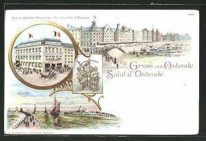 Lithographie Ostende, Grand Hotel de l'Empereur Restaurant