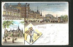 Lithographie Hamburg-St. Pauli, Concerthaus Ludwig Nachtbild aus