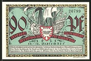 Notgeld Kiel 1921, 90 Pfennig, Stadtwappen und