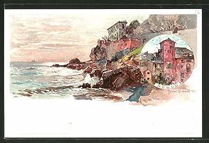 Künstler-Ansichtskarte Manuel Wielandt: Recco, Teilansicht des Küstenortes