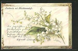 Künstler-Ansichtskarte Catharina Klein: Strauss Maiblumen, mit Duft