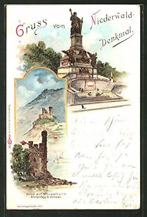 Lithographie Niederwald-Denkmal, Mäusethurm Ehrenfels, Rössel