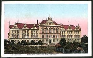 Goldfenster-Ansichtskarte Gnadenfrei, Landwirtschaftliche Frauenschule mit leuchtenden Fenstern