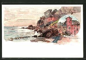 Künstler-Lithographie Manuel Wielandt: Recco, Häuser am Meer