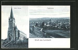 Carte postale Lembach, Kath. l'Église, vue générale