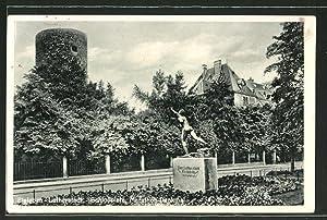 Ansichtskarte Eisleben, Schlossplatz, Marathon-Denkmal