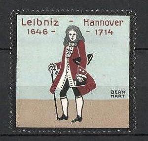 Künstler-Reklamemarke Lucian Bernhard, Hannover-Leibniz, Gottfried Wilhelm Leibniz