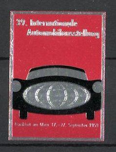 Reklamemarke Frankfurt / Main, 39. Internationale Automobilausstellung 1959, Auto mit Globus als Kühlergrill