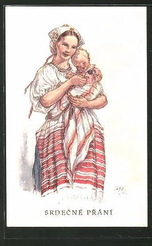 Künstler-Ansichtskarte M. Fischerova-Kvechova (MFK): Junge Mutter in