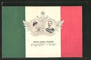 Cartolina Marcia Reale Italiana, Königin und König