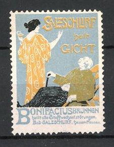 Reklamemarke Bad Salzschlirf, Bonifacius Brunnen, Dame, Kurgast