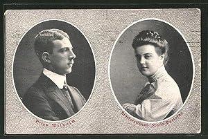 Ansichtskarte Prinz Wilhelm, Maria Pavlovna von Schweden