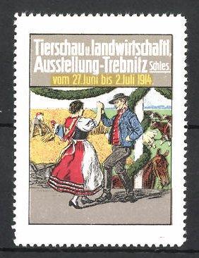 Reklamemarke Trebnitz, Tierschau u. landwirtschaftliche Ausstellung 1914,