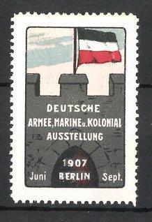 Reklamemarke Berlin, deutsche Armee-und Kolonial-Ausstellung 1907, deutsche