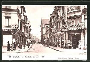 Trendy carte postale reims la rue saintjaques magasin au for Code postal chalon en champagne