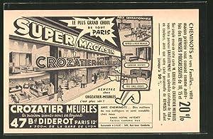 Carte postale Paris, Super Magasin Crozatier Meubles,