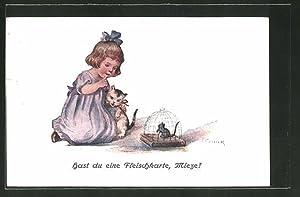 Künstler-Ansichtskarte Elly Frank: Hast du eine Fleischkarte,