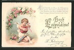 Lithographie Hoch Leopoldine!, Amor bindet Herzen zusammen