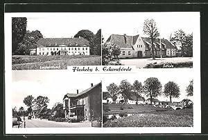 Ansichtskarte Fleckeby, Louisenlund, Schule, Strassenpartie
