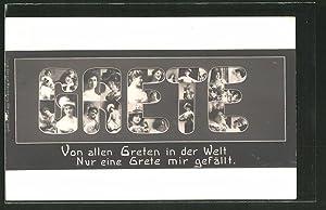 """Ansichtskarte """"Von allen Greten.!"""", Frauen-Porträts"""