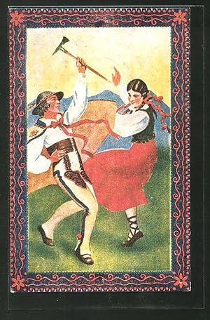 Künstler-Ansichtskarte Malarstwo Polskie, polnische Tänzer in Tracht