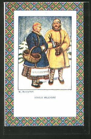 Künstler-Ansichtskarte Malarstwo Polskie, Stroje Wilenskie, polnisches Paar