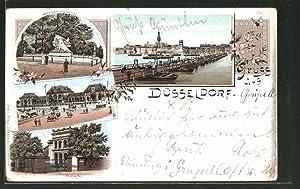 Lithographie Düsseldorf, Kriegerdenkmal, Malkasten, Bahnhof