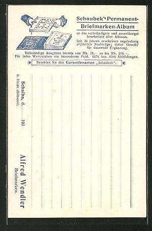 Ansichtskarte Alfred Wendler, Schaiba, Schaubek's Permanent-Briefmarken-Album