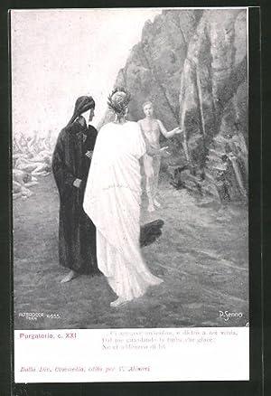 Künstler-Ansichtskarte Divina Comedia, Purgatorio, c. XXI, Ci