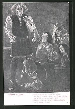 Künstler-Ansichtskarte Divina Comedia, Inferno, c. XXXIII, Ambo