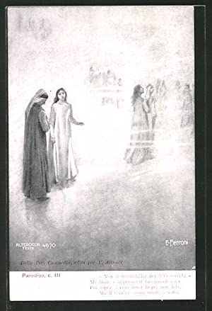 Künstler-Ansichtskarte Divina Comedia, Purgatorio, c. III, Non