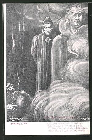 Künstler-Ansichtskarte Divina Comedia, Inferno, c. XV, Ma