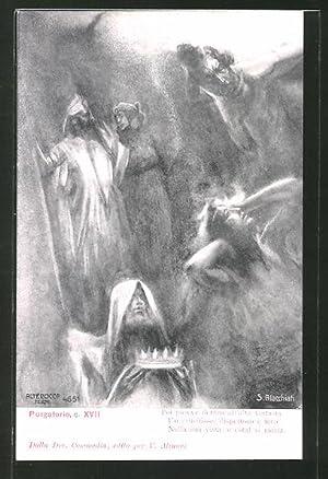 Künstler-Ansichtskarte Divina Comedia, Purgatorio, c. XVII, Poi
