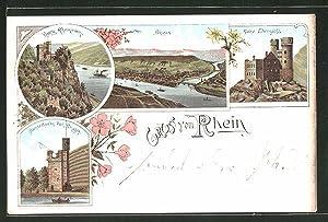 Lithographie Bingen, Burg Rheinstein, Mäusethurm, Ruine Ehrenfels