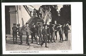 Ansichtskarte München-Sendling, Lipowskystr. 24, Los alumnos del